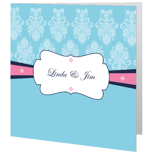 Blue and Pink Regal Civil Ceremony 140 x 140 Folded 3D