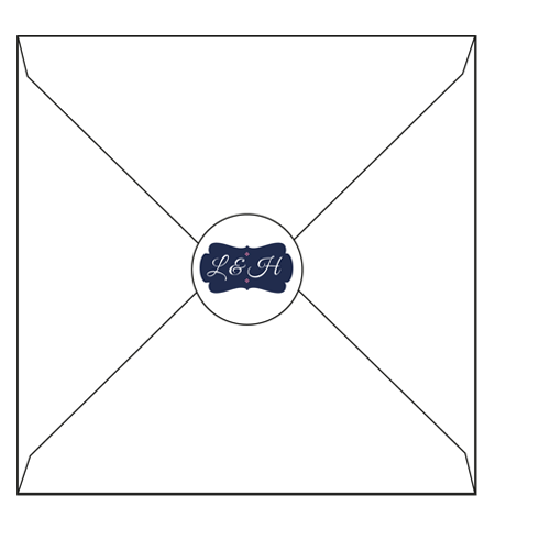 Blue and Pink Regal  Envelop with Circle label