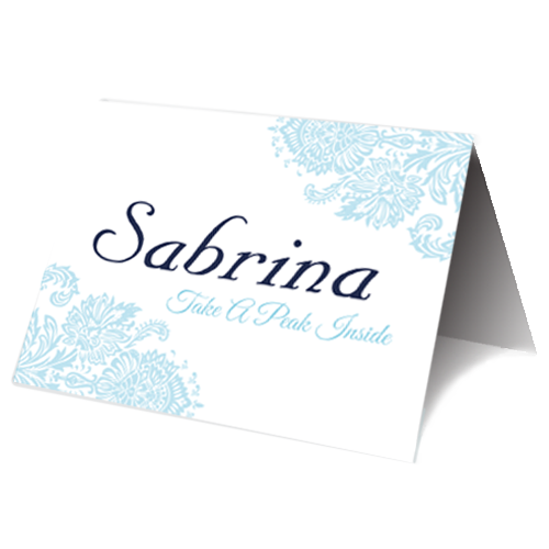 Blue and Pink Regal Place Card 3D