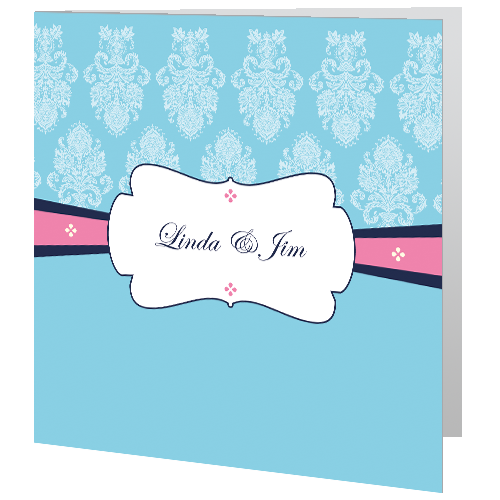 Blue and Pink Regal Wedding Day Invite 140 x 140 Folded 3D