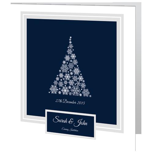 Snowflake Tree  Evening Wedding Invitation 140x 140 Folded