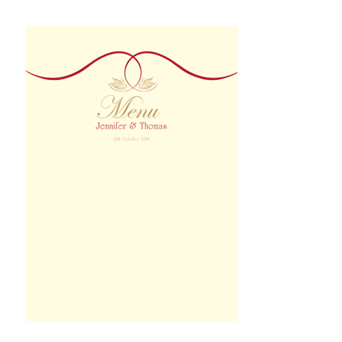 Celtic Swan Swirl A5 Menu Card Flat Wedding Cards Direct