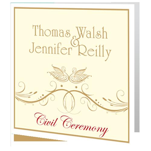 Classic Swan Swirl civil ceremony invite 140 x140 folded