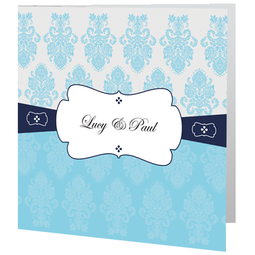 Dark Blue Regal Wedding Invite Evening 140 x 140 Folded