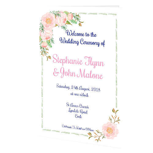 Delicate Rose Ceremony Booklet 20 Page