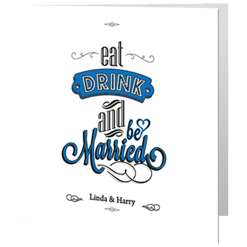 Eat drink and be married Wedding Day Invite 140 x 140 Folded