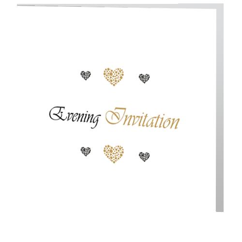 Romantic Gold Heart  Evening Wedding Invitation 140x 140 Folded