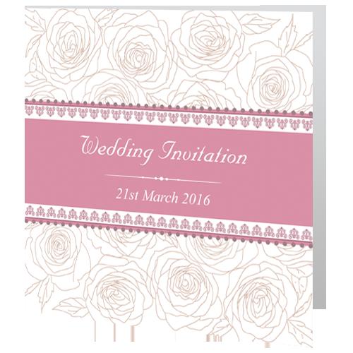CF White Rose Wedding Day Invite Folded