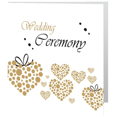 Romantic Gold Heart   Civil Ceremony invite 140 x 140 Folded