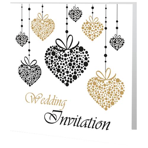 Romantic Gold Heart  Wedding Day Invite 140 x 140 Folded
