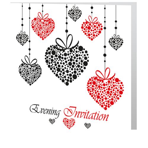 Romantic Red Heart  Evening Wedding Invitation 140x 140 Folded