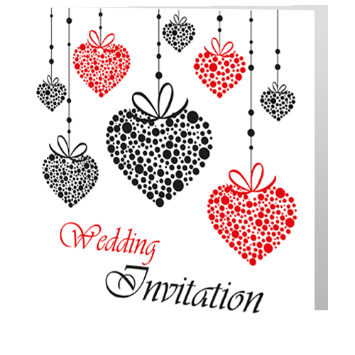 Romantic Red Heart  Wedding Day Invite 140 x 140 Folded