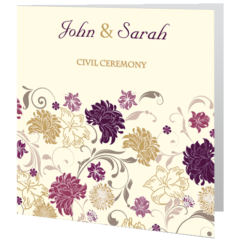 Cream Purple Civil Ceremony invite 140 x 140 Folded