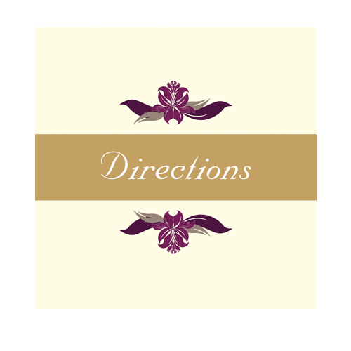 Cream Purple Flower Direction Card 100 x 100 Flat