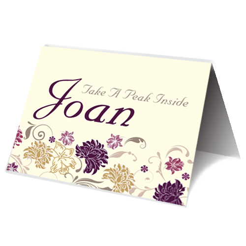 Cream Purple Flower Place Card Speech Time 85 x 65 Folded
