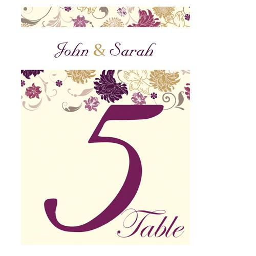 Cream Purple Flower Table Number Card 210 x 148.5 Flat