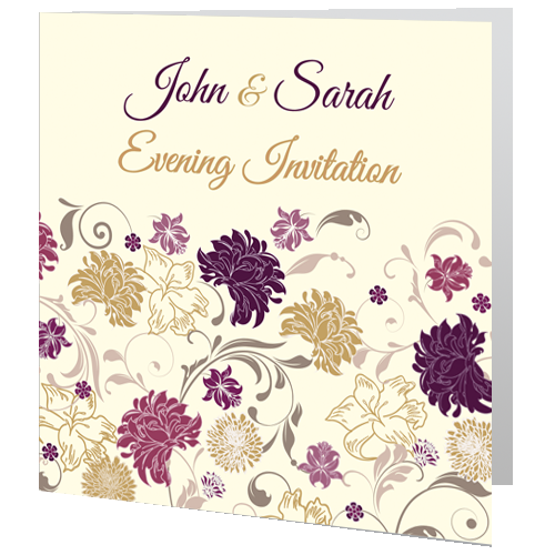 Cream Purple Flower Wedding Invite Evening 140 x 140