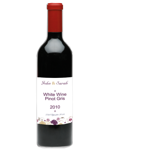 Cream Purple Flower Wine Bottle Label