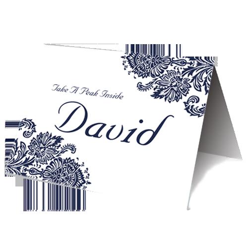 Dark Blue Regal Place Card 3D