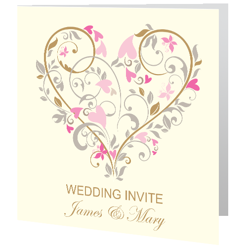Cream Floral Heart Wedding Day Invite 140 x 140 Folded