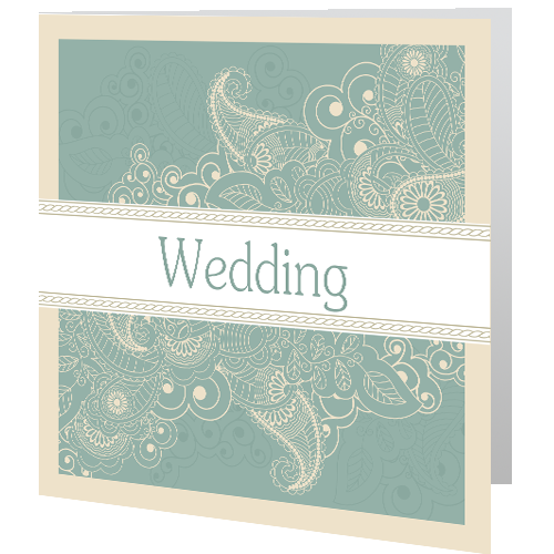 Cream Green Lace Wedding Day Invite 140 x 140 Folded