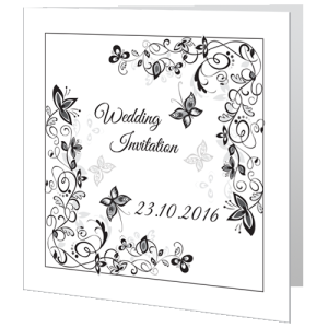 wedding-day-invite-flower-black-white