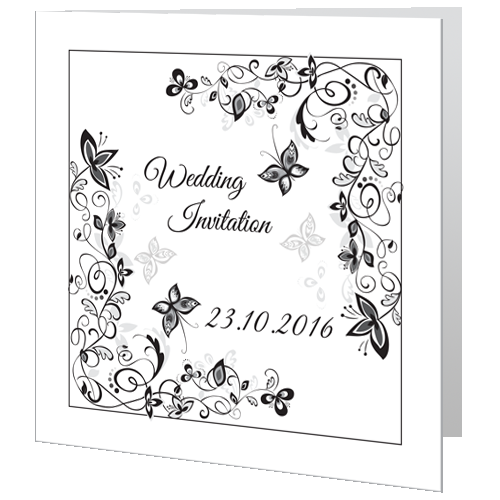 Wedding Day Invite Flower Black White Wedding Cards Direct