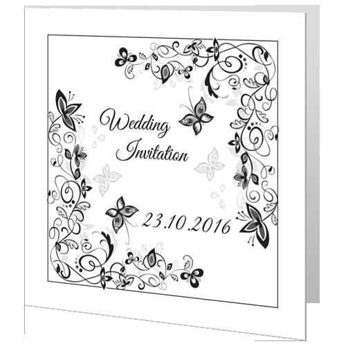 Flower Black and White Wedding Day Invite 140 x 140 Folded 3D