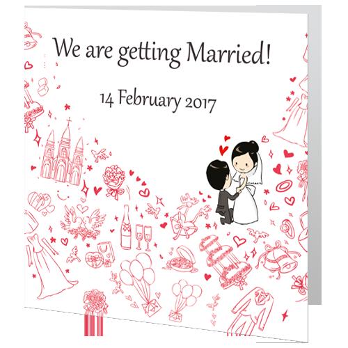 Framed Heart Wedding Day Invite 140 x 140 Folded
