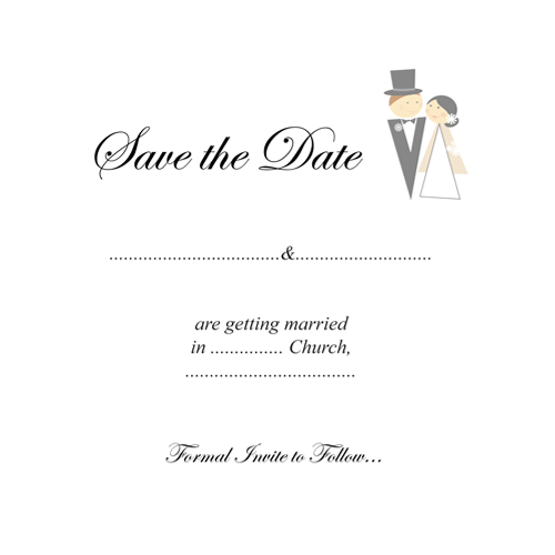 Monochrome Bride and Groom Save the Date 124 x 124 Flat