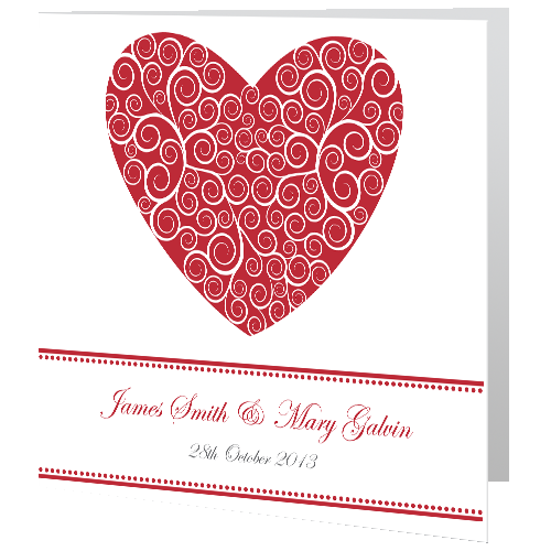 Red Heart Lace Wedding Day Invite 140 x 140 Folded