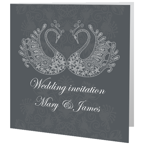 Swans Lace Wedding Day Invite 140 x 140 Folded