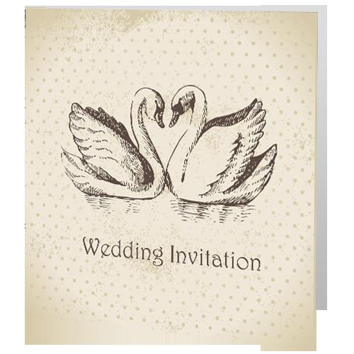Swans Wedding Day Invite 140 x 140 Folded