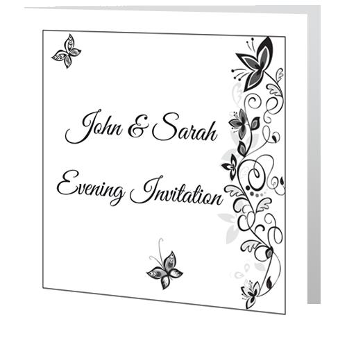 Flower Black & White Wedding Invite Evening 140 x 140 Folded 3D
