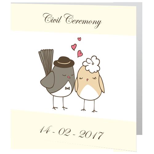 Love Birds  Civil Ceremony invite 140 x 140 Folded