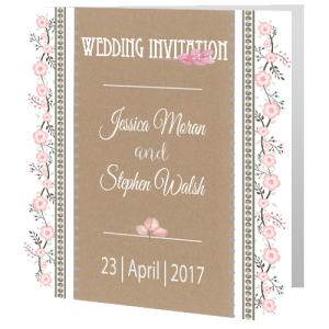 wedding-day-invite-rustic-floral-on-brown-paper