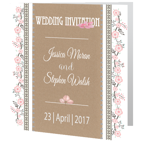 Rustic Floral On Brown Paper Wedding Invite 3d