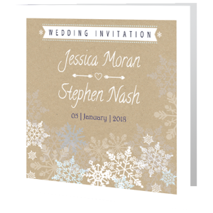 wedding-day-invite-rustic-Snowflake-on-brown-paper