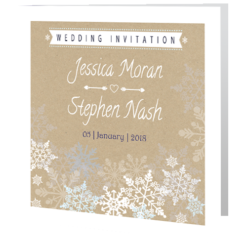 Rustic Snowflake On Brown Paper Wedding Day Invite