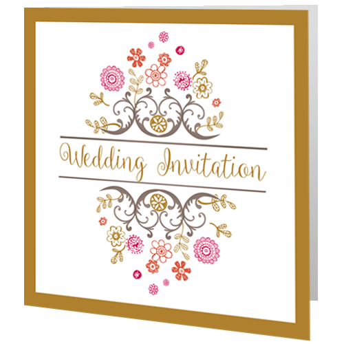 Regal Gold Fl Wedding Invite