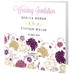 wedding-day-invite-white-purple-floral-140mm-x-140mm