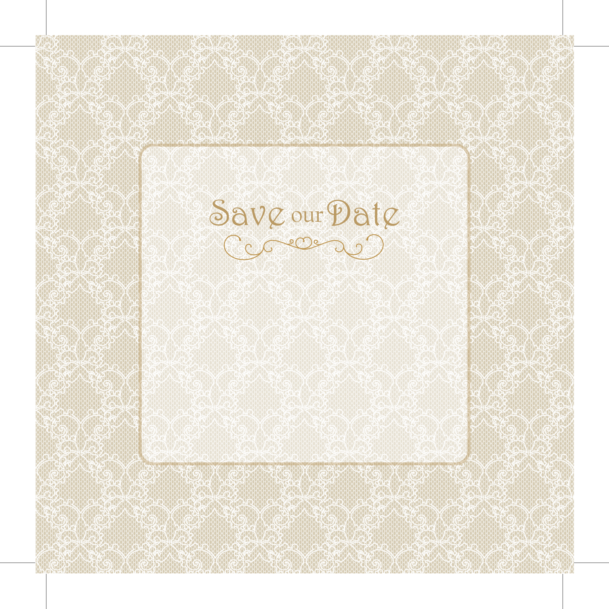 Wedding Invitations Galway: Vintage Lace With Gold Save The Date 124mm X 124mm