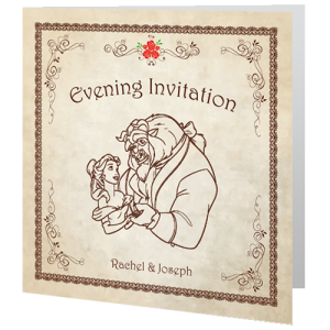 Wedding Evening Invite Beauty And The Beast Fairytale 140mm X