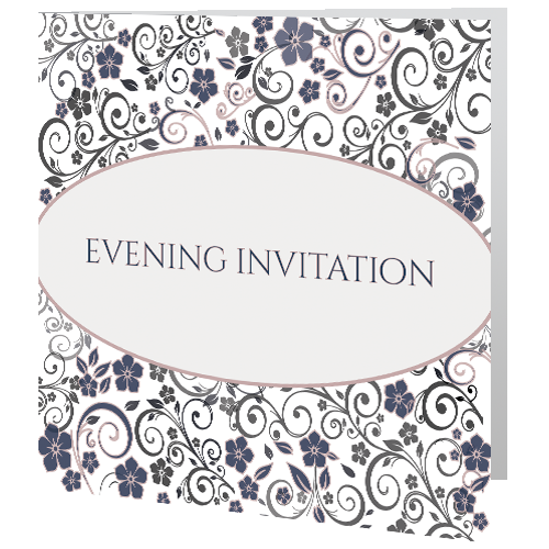 Ornate Mauve Grey Floral Evening invite 140mm x 140mm – Niamh