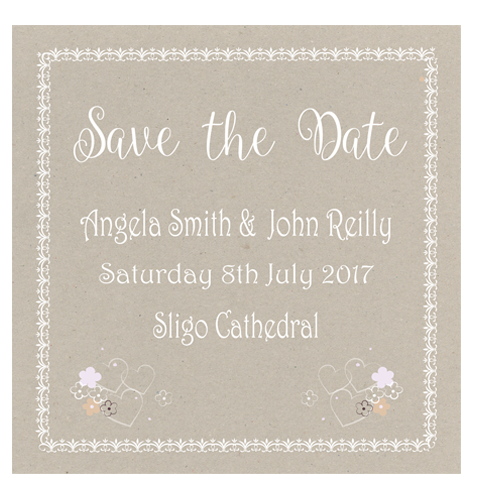 Snowflake Tree Save the Date 124 x 124 Flat Front