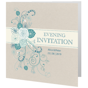 Wedding Evening Invite Teal Flower 140mm X