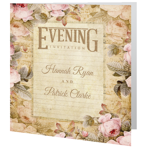 Wedding Evening Invite Vintage Rose 140mm X