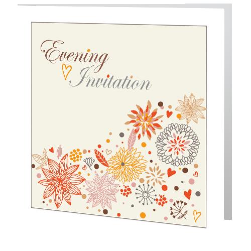 Autumn Leaf White Border Evening Wedding Invitation 140x 140 Folded