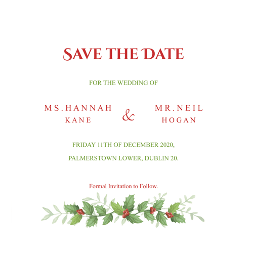 christmas greenery holly save the date 124mm x 124mm wedding cards