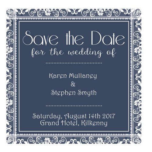 Lace on Navy Blue Save the Date 124 x 124 Flat